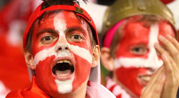 The beautiful game - football fans from around the world. - Denmark fans show their support prior to the 2018 FIFA World Cup qualifying play-off second leg match at the Aviva Stadium, Dublin.
