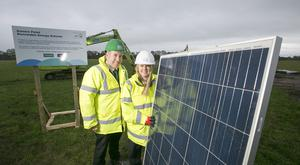 Sara Venning Chief Executive of NI Water pictured with Leo Martin, Managing Director of Civil GRAHAM Construction at the launch of NI Water's new £7 million solar farm / Credit: Brian Morrison