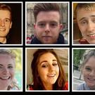 The six students who lost their lives in the tragic accident, top left to bottom right: Lorcan Miller, Eoghan Culligan, Nick Schuster, Ashley Donohoe, Eimear Walsh and Olivia Burk