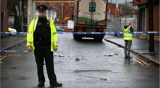 Police at the scene of the fatal incident on Tuesday. Picture: Pacemaker.