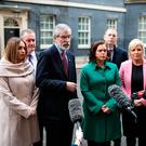 Sinn Fein President Gerry Adams with Sinn Fein delegation at Downing Street. (Photo by Jack Taylor/Getty Images)