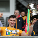 Glory day: Antrim's Simon McCrory lifts the Allianz Hurling Division 2A trophy