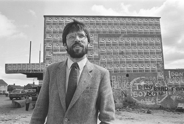 Gerry Adams pictured in front of election posters for Westminster elections. Pacemaker Press Intl. 27/5/83. 497/83/BW