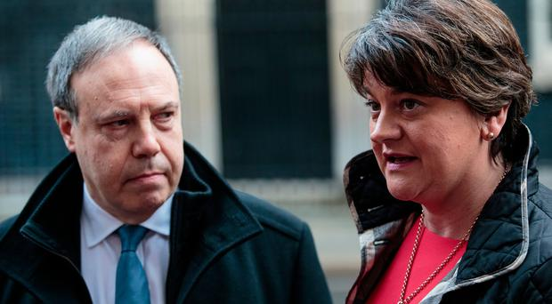 DUP leader Arlene Foster and deputy leader Nigel Dodds outside Downing Street