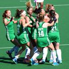 Ireland celebrate during day 8 of the FIH Hockey World League Women's Semi Finals 7th-8th place match between India and Ireland at Wits University on July 22, 2017 in Johannesburg, South Africa. (Photo by Getty Images/Getty Images)