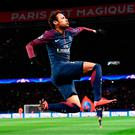 Mar-vel: Brazilian ace Neymar celebrates the second of his goal double against Celtic in Paris last night