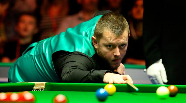 Shock: Mark Allen on his way to defeat last night at the Waterfront