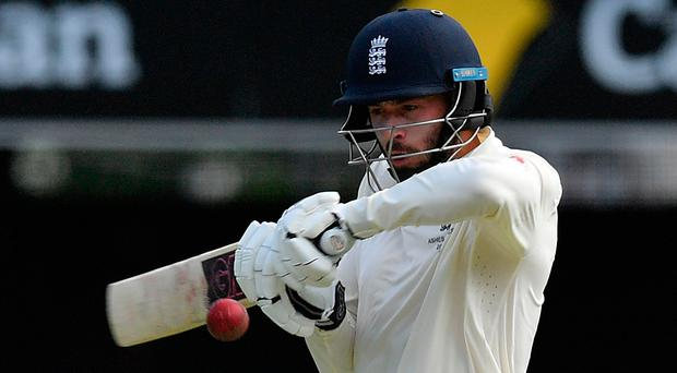 England's batsman James Vince plays a shot on the first day of the first Ashes Test.