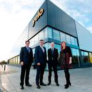 Peter McRoberts from Danske Bank, Invest NI chief Alastair Hamilton, Yelo's Richard Furey, and Maureen Morrow of Mid and East Antrim Borough Council
