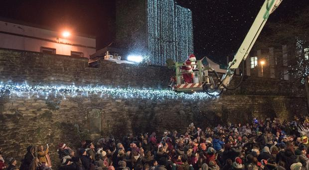 Santa who made his arrival in Guildhall Square during the Christmas Lights Switch on in Derry-Londonderry in Guildhall Square. Picture Martin McKeown. Inpresspics.com. 23.11.17