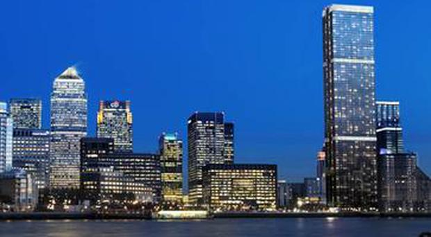 An artist's impression of Landmark Pinnacle next to the existing Canary Wharf buildings / Credit: Creative Commons
