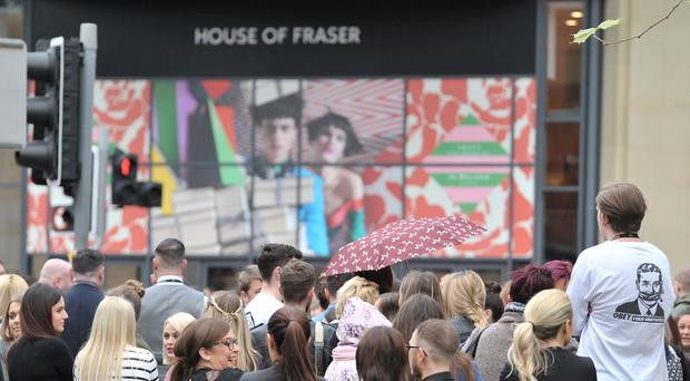 Staff and shoppers were evacuated from House of Fraser in Belfast on Friday. Pic Alan Lewis- PhotopressBelfast.co.uk 24-11-2017