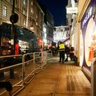 The scene outside the London Palladium after Oxford Circus station in London was evacuated because of an