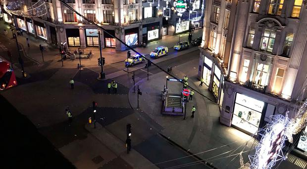 Handout photo courtesy of Rob Butcher of emergency services at Oxford Circus in Oxford Street, central London.
