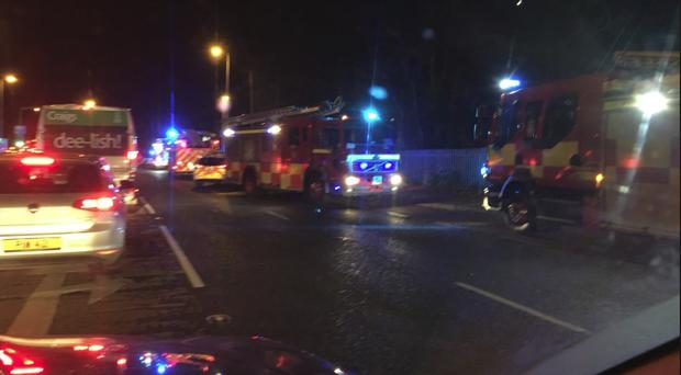 Scene of the Saintfield Road crash. Pic Kevin Magee BBC