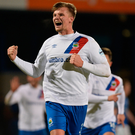 Blue heaven: Linfield's Cameron Stewart after his goal
