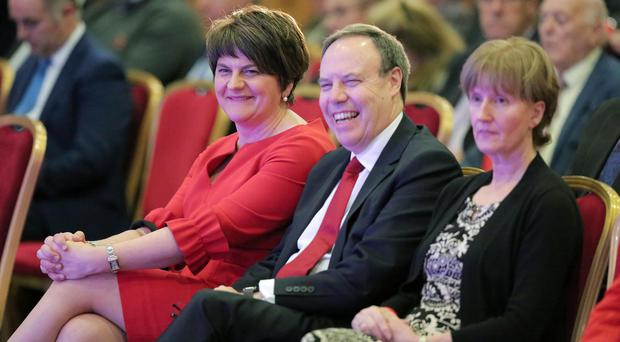 DUP leader Arlene Foster and Deputy Leader Nigel Dodds MP at the DUP annual conference in the La Mon House Hotel near Belfast / Credit: Kelvin Boyes / Press Eye
