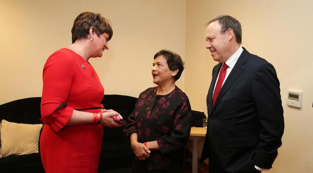 Press Eye - Belfast - Northern Ireland - 25th November 2017 DUP leader Arlene Foster and Deputy Leader Nigel Dodds MP at the DUP annual conference with new member Councillor Vasundhara Kamblein the La Mon House Hotel near Belfast. Photo by Kelvin Boyes / Press Eye