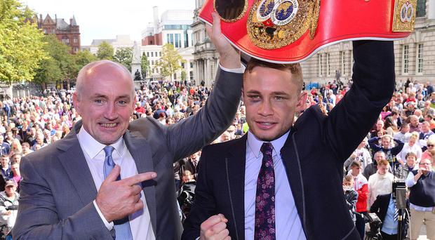 Carl Frampton with Barry McGuigan, who is not a party in the legal action