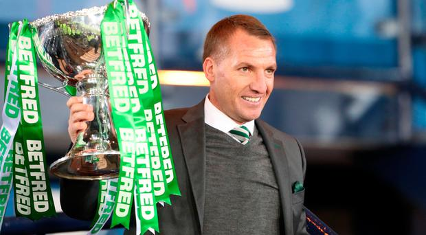 Silver lining: Brendan Rodgers gets to grips with the Scottish League Cup again