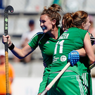 Get in: Megan Frazer will be hoping for more Irish goal celebrations in London