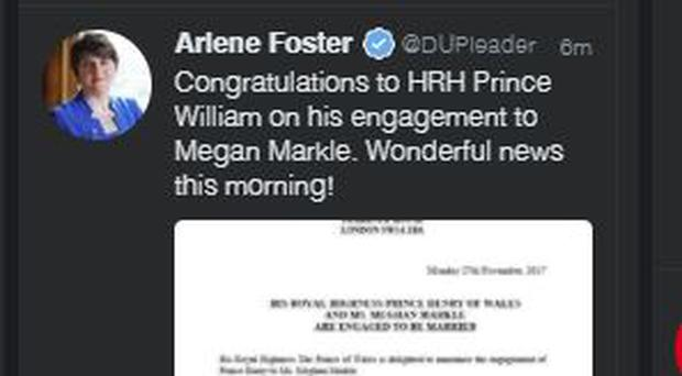 The original tweet referring to Prince William was quickly removed.