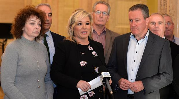 Michelle O'Neill MLA and members of the Sinn Féin leadership, speak to the media in the Great Hall, Stormont, following a meeting with British Secretary of State James Brokenshire. Pic Colm Lenaghan/Pacemaker