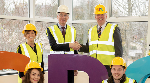 Back, from left, Beverley Harrison of the Department for the Economy, Gerry Gray, of Felix O'Hare & Co and Brian Doran, chief executive of Southern Regional College. Front, students Hollie Hamilton and Jamie Cornett
