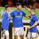 Glenavon's Adam Foley celebrates after scoring to make it 0-1 at Shamrock Park. Photo by TONY HENDRON/Tonypixsport