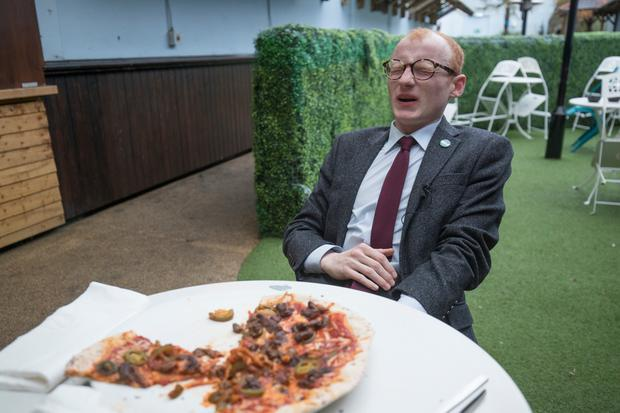 Christopher Woodhouse tries The Wall of Fire pizza at the Palour Bar, Belfast.