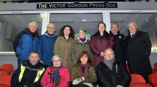 Honour: Family, friends and former colleagues of the late Victor Gordon at the naming of the Shamrock Park press box last night