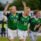 Rachel Furness (left) scored as Northern Ireland won in Slovakia.
