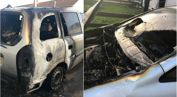 The arson attack on the car.