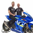 Dream machine: Davey Todd (left) and his new team boss John Burrows with one of their latest spec Suzuki bikes
