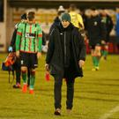 Glentoran manager Gary Haveron's walks to the dressing room after seeing his side beaten 2-0 at home to Ards. Pic: INPHO/Jonathan Porter