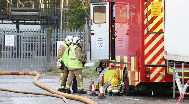PressEye - Belfast - Northern Ireland - 01st December 2017 Pictured: General views of the scene of a fire in the Carnbane industrial estate in Newry.