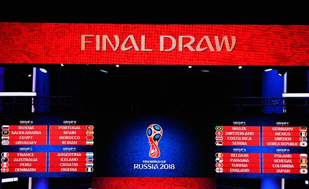 MOSCOW RUSSIA- DECEMBER 01 A general view of the final draw results during the Final Draw for the 2018 FIFA World Cup Russia at the State Kremlin Palace