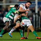 Guinness PRO14, Kingspan Stadium, Belfast 24/11/2017 Ulster vs Benetton Treviso Benetton Rugby's Cherif Traore and Ignacio Brex tackle Greg Jones of Ulster Mandatory Credit ©INPHO/James Crombie