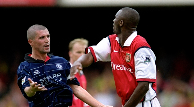 Flashback: Roy Keane and Patrick Vieira during the heated clashes around the turn of the century