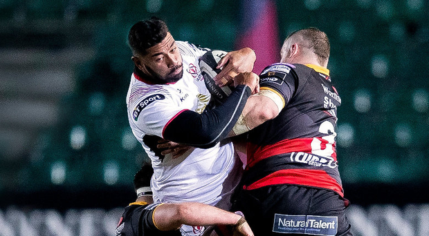 Ulster's Charles Piutau is tackled last night