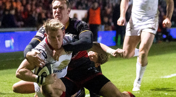 Crucial blow: Craig Gilroy bags a try for Ulster against the Dragons last night