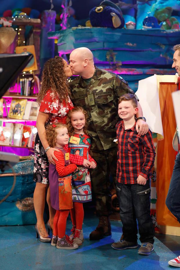 Pictured on the RTE One Late Late Toy Show 2017 are The Burke family from Midleton Cork - Sergeant Graham Burke, mum Marie and their three kids - Adam 8, Kayla 6 and 4-year-old Emily. Picture Andres Poveda / RTE.