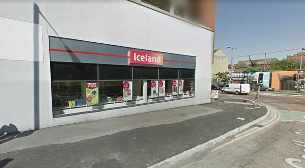 Police were called to the scene at Iceland in Belfast city centre. Pic Google Maps