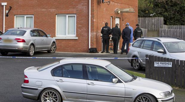 Police at the scene of a body find in Newry. Pic: Newraypics.com