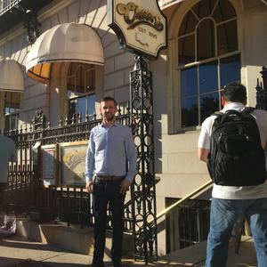 Boston travel feature - Martin Breen outside original Cheers Bar