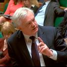 Brexit Secretary David Davis responds in the House of Commons. Pic: PA Wire