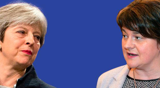Theresa May (below) and Arlene Foster (right)