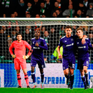 In vain: Anderlecht celebrate Jozo Simunovic's own goal, but it wasn't enough for them to leapfrog Celtic into third