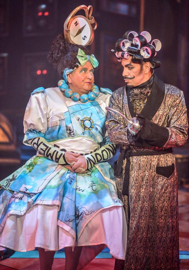 Mrs Smee (May McFettridge) and Captain Hook (David Bedella) at the Grand Opera House panto performance of Peter Pan. (Photo by Aaron McCracken)