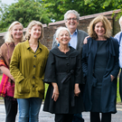 Noirin McKinney (left), Arts Council, and Fran Brearton (centre), Queen's University Belfast, with (from left) poets Leontia Flynn, Paula Meehan, Gerry Dawe, Michael Longley, Ciaran Carson and Eilean Ni Chuilleanai, who had met to discuss the appointment of an International Visiting Poetry Fellow